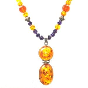 Baltic Amber and Amethyst Silver Necklace